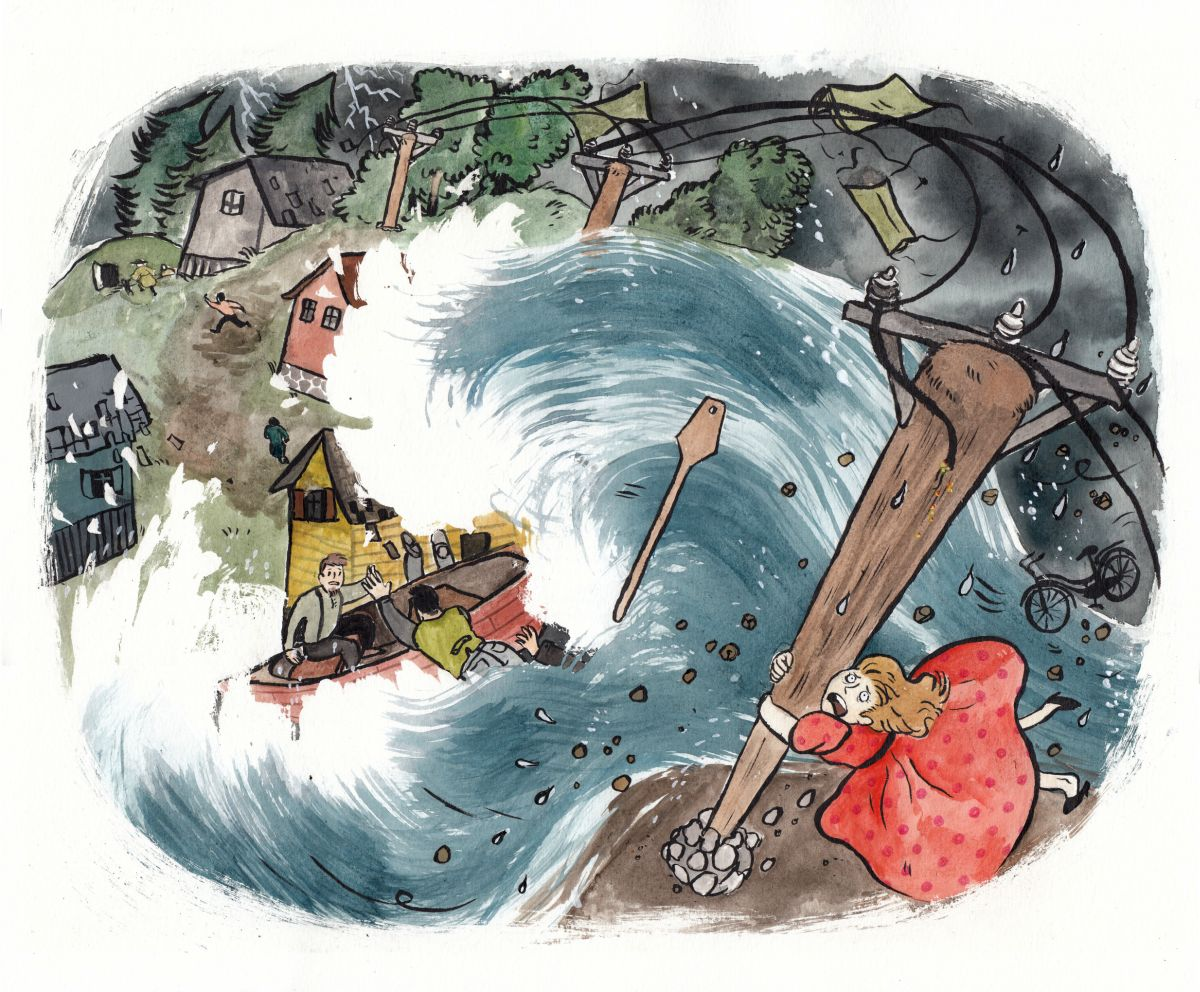 Anni Jokitalon tekemä piirroskuva: iso aalto vie mukanaan taloja ja ihmisiä.