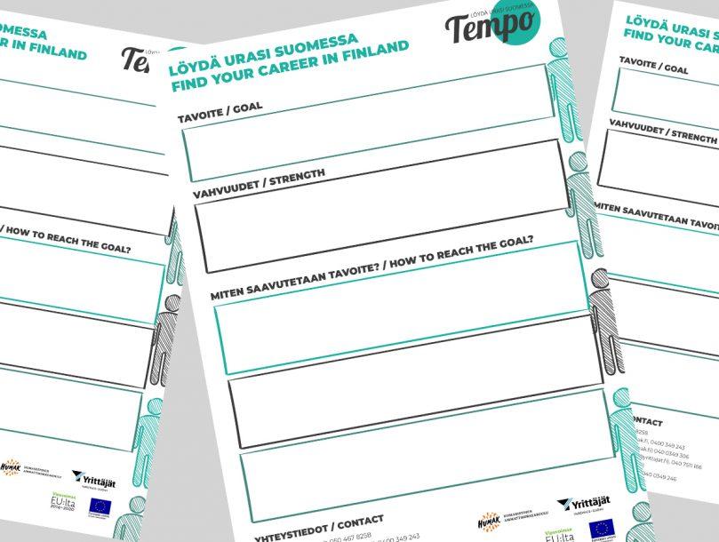 Tempo-hankkeen papereita, joissa löydä urasi suomessa-kartoitus.